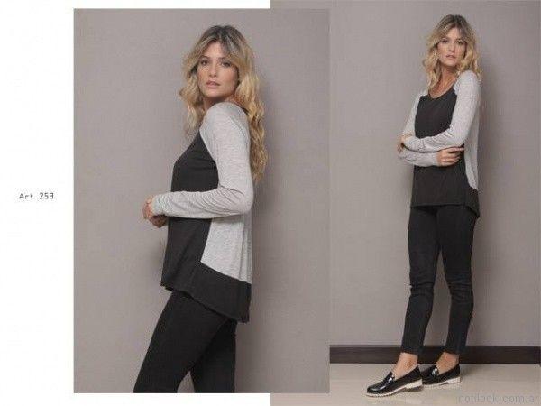 remera mangas largas con recortes y calza negra Arauz otoño invierno 2017