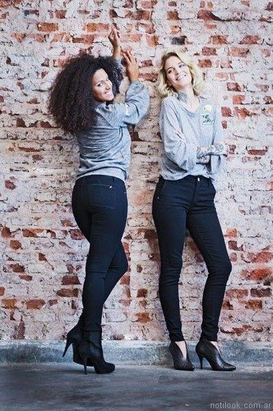 remeras mangas largas con apliques y jeans negro Utzzia otoño invierno 2017