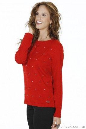 sweater rojo mujer Nuss tejidos invierno 2017