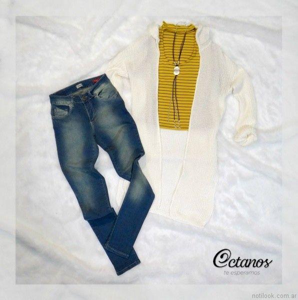 Octanos Jeans otoño invierno 2017 y cardigan largo