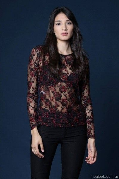 blusa de microtul bordado mangas largas Destino Collection otoño invierno 2017