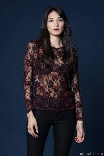 blusa de microtul bordado mangas largas Destino Collection otoño invierno 2017