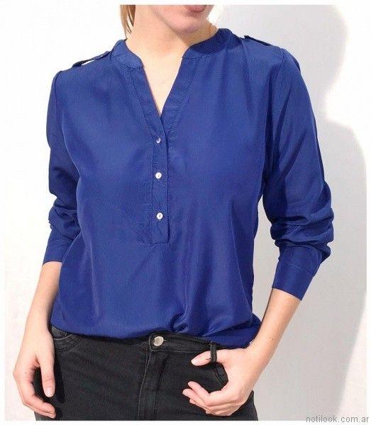 blusa de seda estilo camisa Ribka otoño invierno 2017