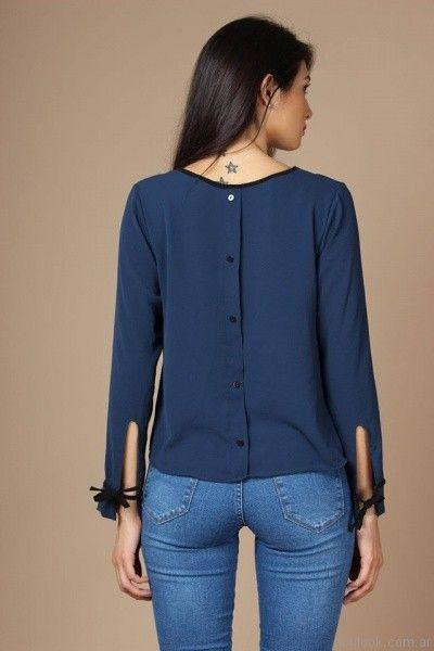 blusa de seda mangas largas Destino Collection otoño invierno 2017