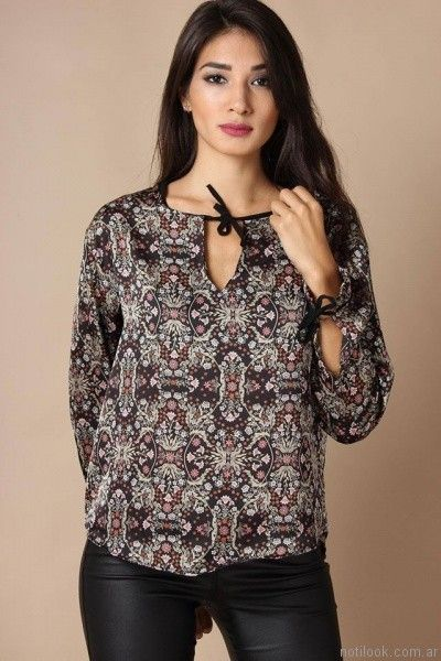 blusa estampada mangas largas Destino Collection otoño invierno 2017