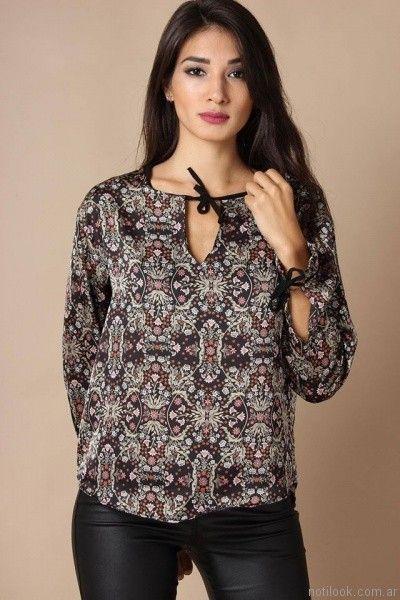 blusa estampada mangas largas Destino Collection otoño invierno 2017