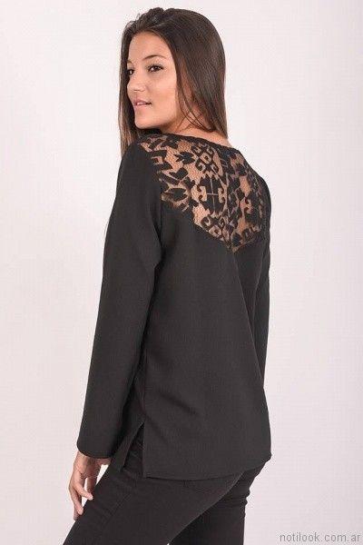 blusa negra mangas largas Pablo Mei otoño invierno 2017