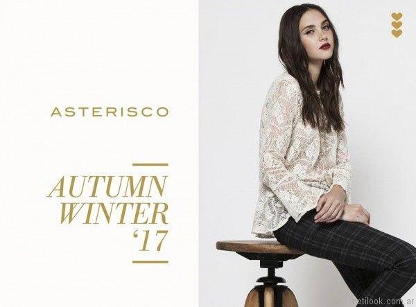 blusas de encaje mangas largas asterisco otoño invierno 2017