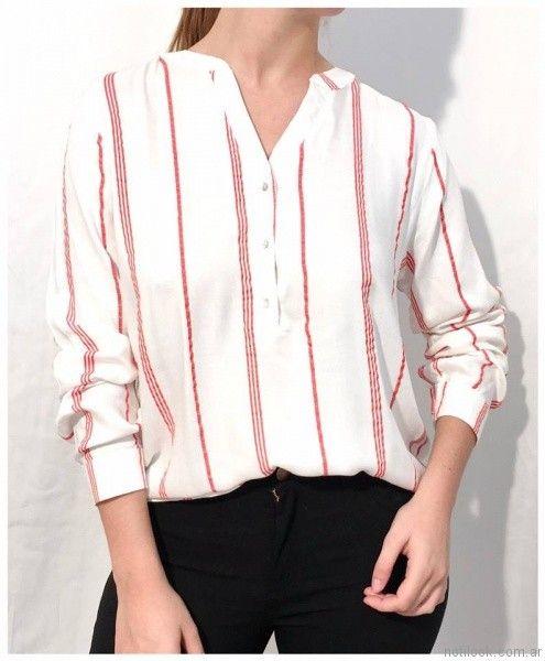 camisa a rayas mujer Ribka otoño invierno 2017