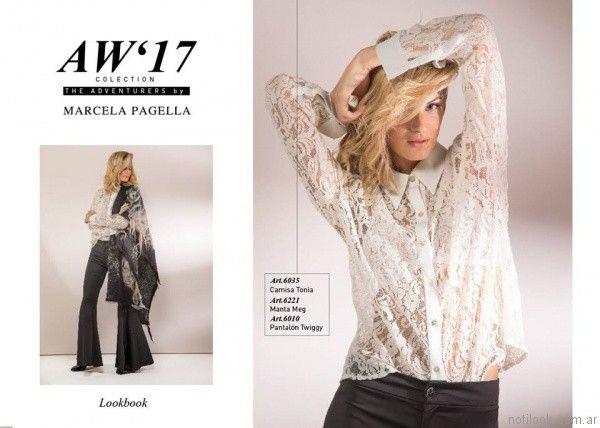 camisa de encaje y pantalon de vestir oxford Marcela Pagella otoño invierno 2017
