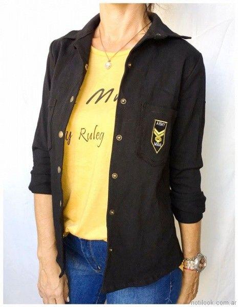 camisa de gabardina mujer Ribka otoño invierno 2017