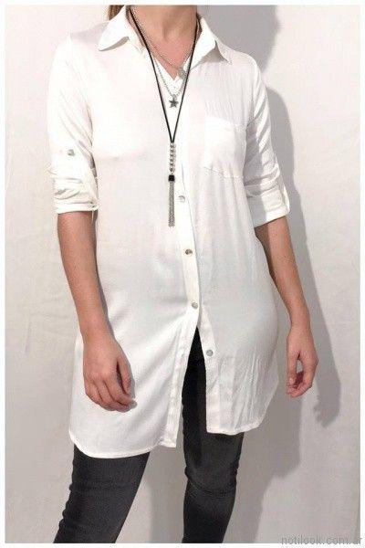 camisa larga blanca Ribka otoño invierno 2017