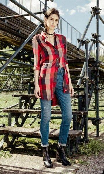 camisa larga escosesa mujer Levis invierno 2017
