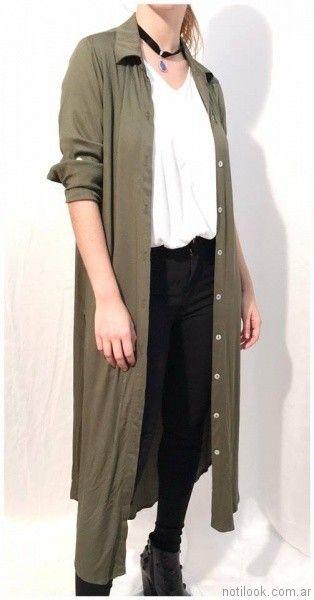 camisa larga verde militar Ribka otoño invierno 2017