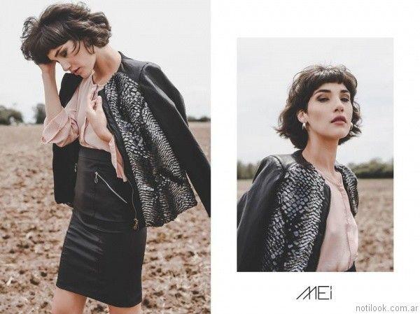 chaqueta de cuero mujer Pablo Mei otoño invierno 2017