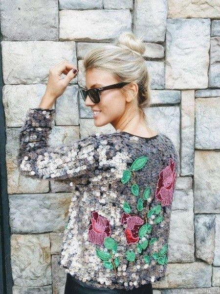 chaqueta de lentejuela con bordado floral Vars otoño invierno 2017