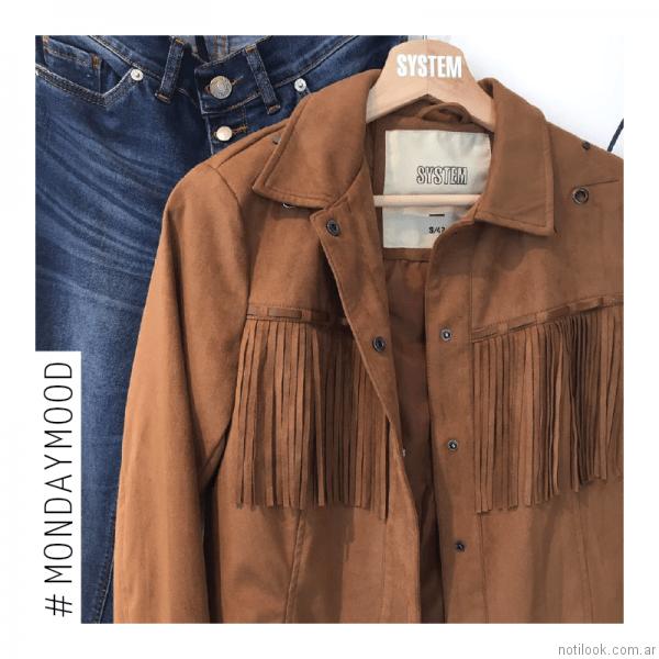 chaqueta gamuzada con flecos System Basic otoño invierno 2017