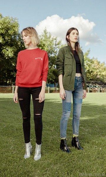 jeans con roturas y parches mujer Levis invierno 2017
