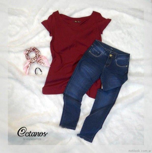 pantalon chupin y remera bordo Octanos Jeans otoño invierno 2017