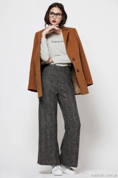 pantalon gris de vestir asterisco otoño invierno 2017