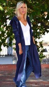 saco largo azul mujer Agarrrate Catalina otoño invierno 2017