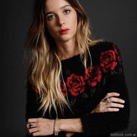 sweater pelo largo con rosas lovely denim otoño invierno 2017