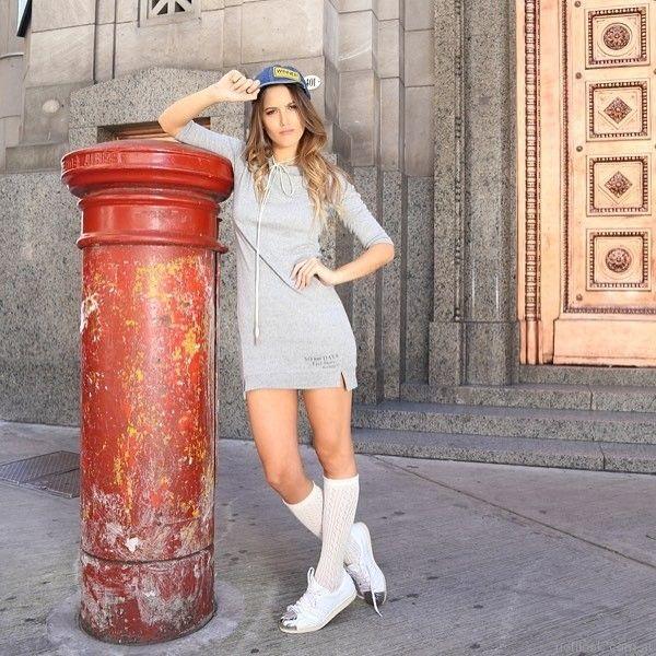 vestido corto casual juvenil mangas largas Tuboos otoño invierno 2017