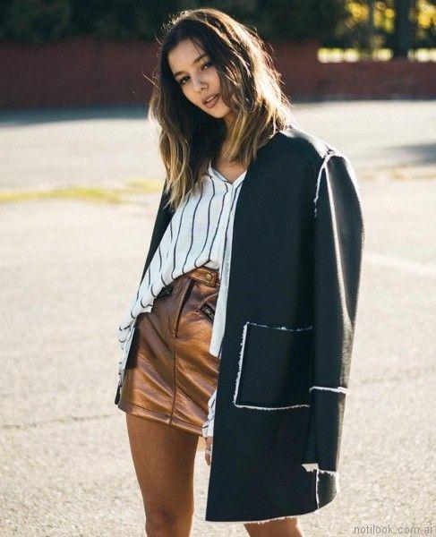 abrigo forrado en piel de cordero Velvet otoño invierno 2017