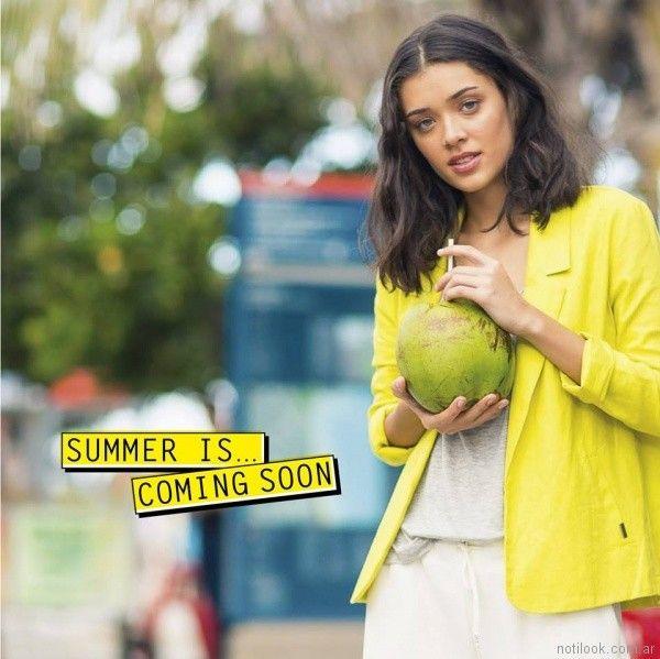 blazer para mujer amarillo verano 2018 - Try me