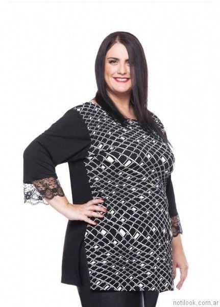 blusa con detalle en puntilla Loren talles grandes otoño invierno 2017