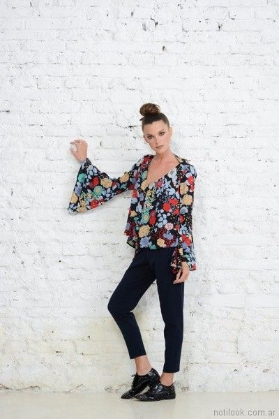 blusa estampada mangas largas oxford Doll Store invierno 2017
