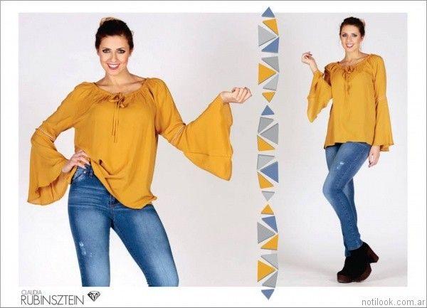 blusa mangas largas oxford Claudia Rubinsztein otoño invierno 2017