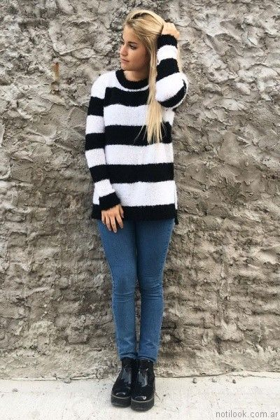 buzo de lana a rayas Dorcastar otoño invierno 2017