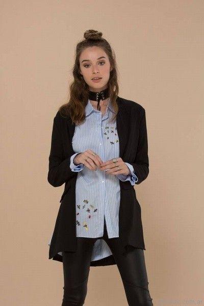 camisa a rayas bordada inversa otoño invierno 2017