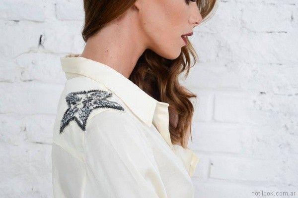 camisa bordada con canutillos Doll Store invierno 2017