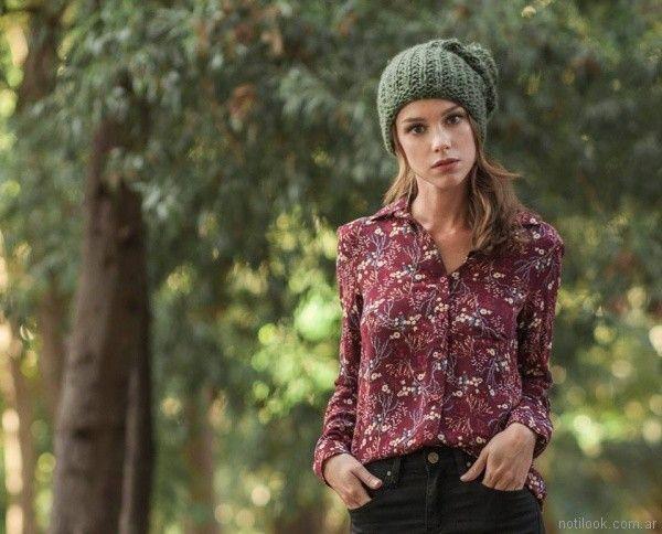 camisa casual estampada Mistral mujer invierno 2017
