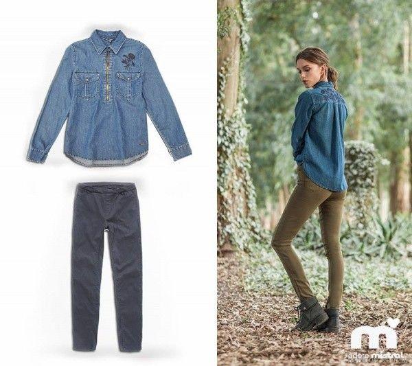 camisa de jeans bordada Mistral mujer invierno 2017