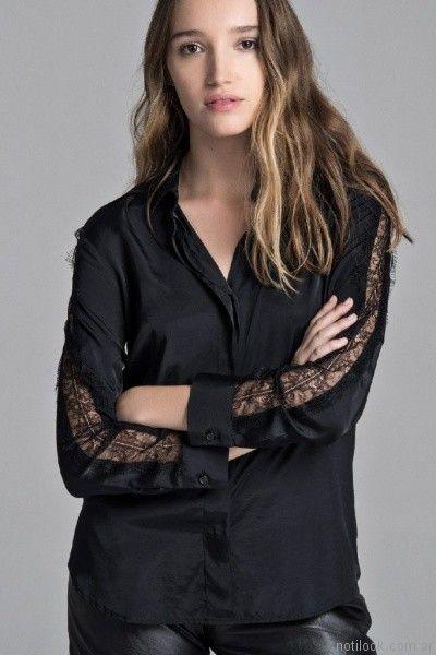 camisa de seda y encaje Giesso mujer otoño invierno 2017