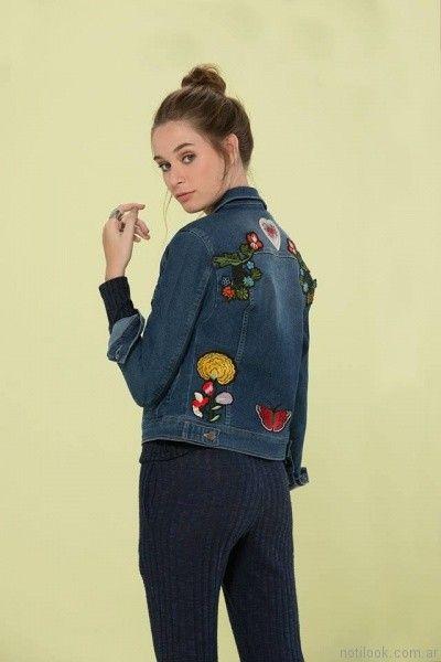 campera de jeans bordada inversa otoño invierno 2017
