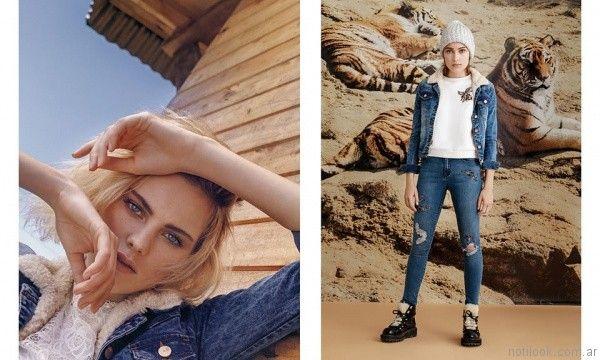 campera de jeans con aplique bordado forrada en corderito Rie invierno 2017
