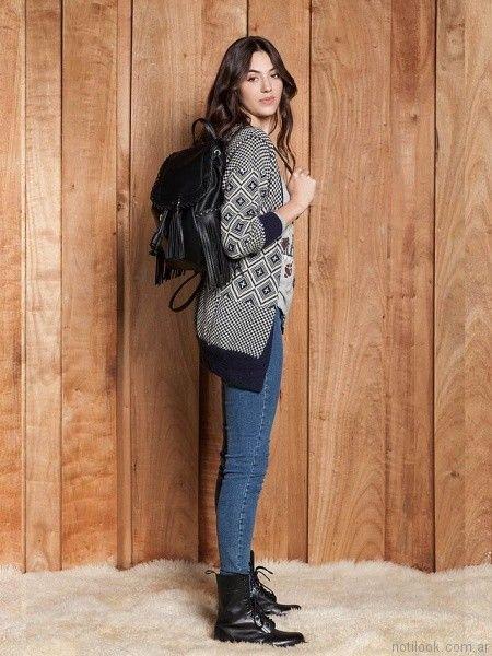 cardigan de lana y jeans chupin Sail otoño invierno 2017