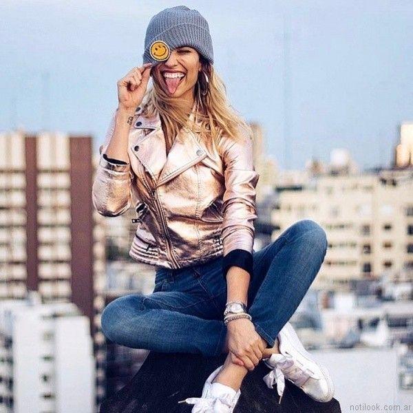 chaqueta metalizada mujer Velvet otoño invierno 2017