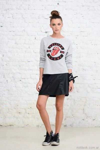 falda corta de cuero Doll Store invierno 2017