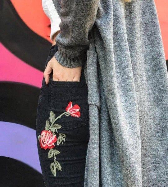 jeans bordado en hilos Velvet otoño invierno 2017