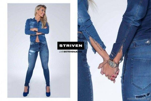 jeans con roturas chupin Striven Jeans invierno 2017