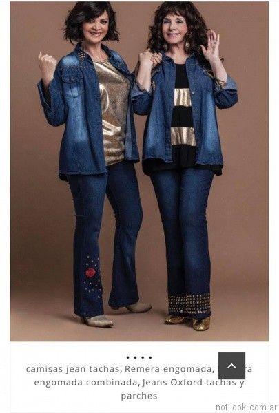 jeans para señoras con apliques Loren talles grandes otoño invierno 2017