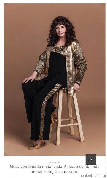 look negro y dorado Loren talles grandes otoño invierno 2017