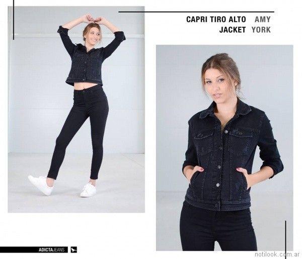 pantalon capri tiro alto negro Adicta jeans invierno 2017