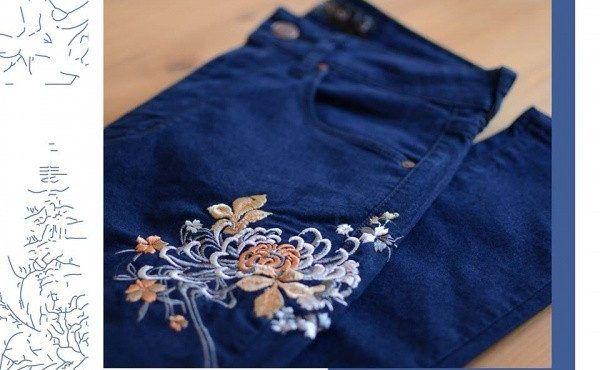 pantalon con bordado floral Adicta jeans invierno 2017