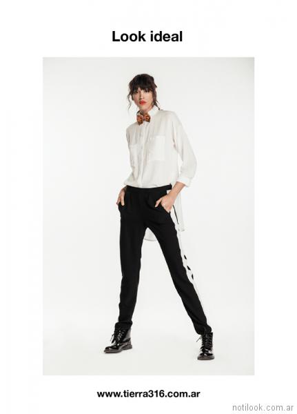 pantalon recto blanco y negro Tierra 316 invierno 2017